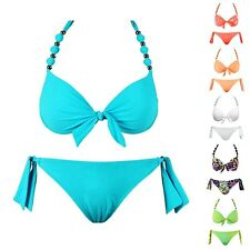 Sexy Triangel Bikini Maillot Badeanzug Bathing Suit Hot Push Up Bügel Neon iBK06