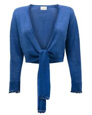 New East Womens Casual Beaded Cardigan Shrug Trimmed Sleeves Tie Front Blue