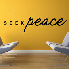Seek Peace Wall Sticker Quote Wall Decal Art