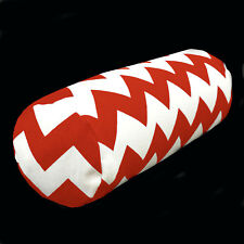 ae329g Red Off White Thick Zig Zag Cotton Canvas Bolster Cushion Cover Custom Si