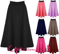 NEW WOMENS LADIES MID LENGTH SCUBA STRETCHY FLARED SWING SKATER MIDI LONG SKIRT