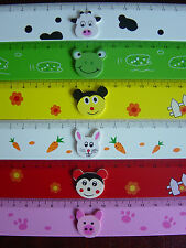 Ruler, Childrens, wooden, 18cm long, bright colours, 6 animals, party bag