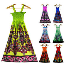 Sexy Women Bohemia Floral Tribal Long Beach Vest Dress BOHO Cami Maxi Sundress