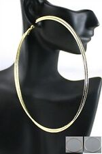 "EXTRA LARGE 5"" YELLOW & ROSE GOLD TONE DOUBLE LAYER, HOOP & STUD EARRING SET"