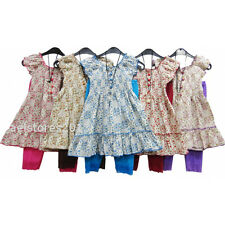 Girls Party Summer 2/3pc Floral Dress Top with Leggings Set Age 4-12 Year New