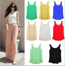 Women Chiffon Sleeveless Shirt Vest Tank Tops Blouse Waistcoat 7 Color