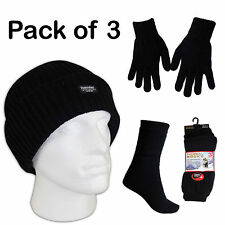 New Mens Knitted 1xHat 1 Pair Thermal Gloves & 3 Thermal Socks Winter Gift Sets