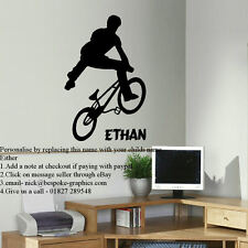 LARGE PERSONALISED BMX TRICK  WALL STICKER NEW TRANSFER VINYL MATT DECAL UK