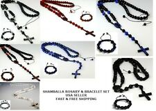 Handmade Shamballa Rosary Crystal Beads Necklace+Shamballa Bracelet Set.USA Ship