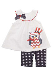 Red, White, & Blue Owl Applique set by Rare Editions.  Sizes 3 - 24 months
