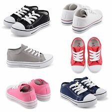 NEW GIRLS KIDS TODDLER LACE UP PLIMSOLLS PUMPS FLAT TRAINERS RETRO SHOES UK SIZE