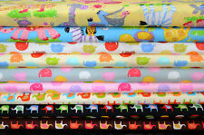 Quilt Half Yard Cotton Fabric Patchwork Child Animal Safari Elephant Pastel