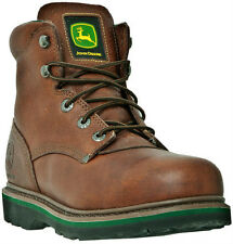 """John Deere Boots JD6393 Men's 6"""" Safety Toe Brown Walnut Lace-Up Work Boots"""