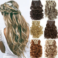 Mega thick 100% full head clip in on hair extension real as human brown blonde