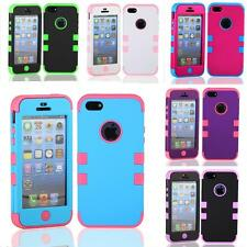 For Apple iPhone 5 5G 5S Triple Layer Hybrid Impact Silicone Hard Case Cover