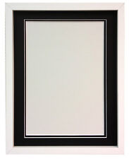 RIO White MDF Picture Photo Frame With Black,White and Ivory Double Mounts