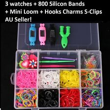 Rainbow Loom Bands Watch Kit 3 Watches 800 Silicon Bands Charms Hooks S-Clips