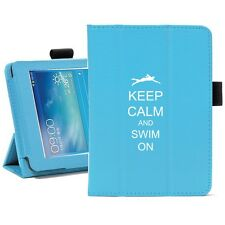 "Samsung Galaxy Tab 3 7.0 7"" Leather Cover Stand Case Keep Calm Swim On Swimmer"