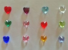 Set of 12 HEART Crystal Birthstones Floating Charms for Glass Floating Lockets