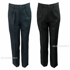 Trousers Boys Grey Black School Uniform  Age 4 - 14 years Size New Pleated Fit