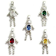 925 Sterling Silver Boy Oval Birthstone CZ Pendant Charm (Choose Any Month)