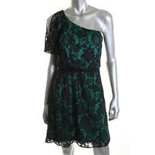 Miss Sixty Green Lined Black Floral Lace One Shoulder  Cocktail Dress - NEW