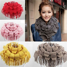 Womens Lady Warm Infinity 2 Circle Cable Knit Cowl Neck Tassel Scarf Shawl 040