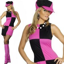 Swinging 60s 70s Sixties Ladies Womens Fancy Dress Costume Outfit & Hat UK 8-18