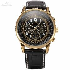 KS Aviator Gold Case Day Date 24 Hours Leather Men Automatic Mechanical Watch