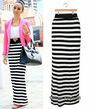 WOMENS LADIES  STRIPE BLACK WHITE MAXI LONG BOHO SUMMER SKIRT SIZES 8-16