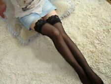 Sexy Women's Sheer Deep Lace Top Thigh High Hold Ups Stockings Size 6-12/  UK 4
