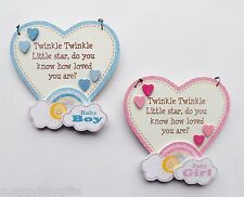 BABY Rainbow Heart Plaques - Pink - Blue - Boy - Girl - Sentimental Inscription