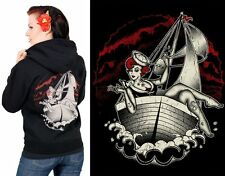 Steady Clothing ~ Rockabilly Sailor Girl Ladies Hoodie ~ Psychobilly 50s Pinup