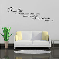 FAMILY PRECIOUS MOMENTS Wall Art Sticker Lounge Quote Decal Mural Transfer