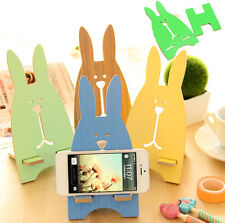 Wood Cute Rabbit Holder Stander Bracket For iPhone Sumsung Universal Cell Phone