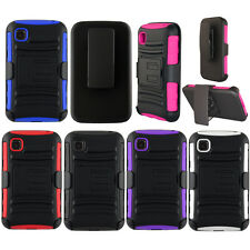 For LG OPTIMUS DYNAMIC 2 II L39C Case HYBRID KICKSTAND Holster Rubber Hard Cover