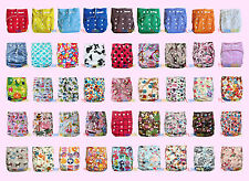 Newborn Baby Boy Girl Solid Print Cloth Diaper Nappies AIO Size & Inserts U PICK