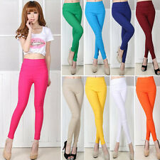 Hot Women Slim Candy Color Stretch High Waist Pencil Pants Leggings Trousers