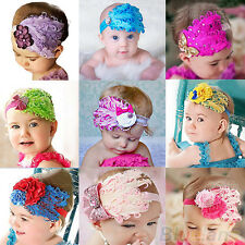Pretty Cute Peacock Feather Headband Lace Flower Hair Band Baby Kids Girl BGAU