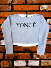 Yonce Drunk in Love I Woke Up Sport Grey Unisex Crop Top Sweatshirt One Size