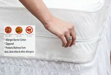 Zippered 100% Cotton Mattress Protector with Allergen and Bedbug Blocker