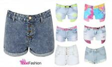 NEW LADIES WOMENS HIGH WAISTED DENIM RAINBOW TIE DYE SHORTS JEANS HOT PANTS 6-14