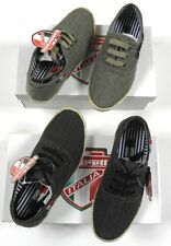 Lambretta Italia Boys Black Khaki Canvas Espadrille Lace Shoes Trainers BNIB
