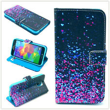 star sparkly black Wallet card slot PU Leather Stand Case Cover Skin for phones