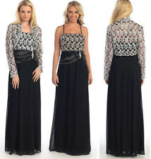 Black/Gold Mother Of  Bride/Groom Dress/Jacket  Party Prom Evening Cocktail  3XL