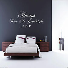 ALWAYS KISS ME GOODNIGHT Wall Art Sticker Quote Decal Mural Transfer Stickers 2