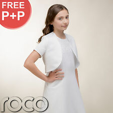 Girls White Traditional First Holy Communion Dress with Bolero Pearls Corsage