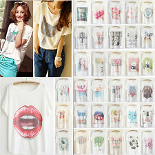 2014 newest style Thin Plus Size Loose Batwing Sleeve Women's Prints T-Shirt Top