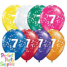 7th Birthday Star 1x28cm Balloon Party Supplies Decorations Blue Purple Yellow