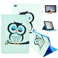 Cute Sleepy Owl Flip Folio PU Leather Stand Case Cover Skin For Various Tablet